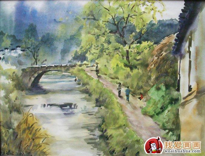 乡村风景水粉画图片 小桥流水水粉写生作品 7