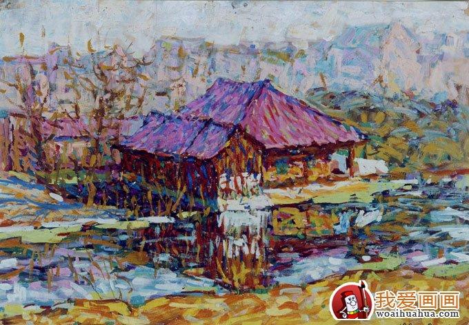 鄉村建筑風景水粉畫圖片:農村房屋建筑(5)