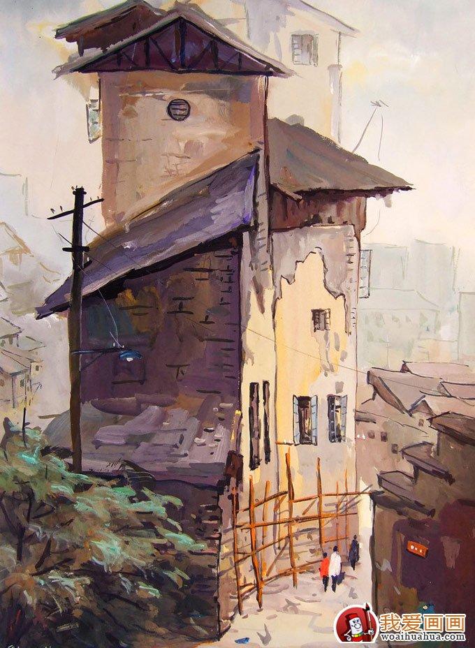 乡村建筑风景水粉画图片:农村房屋建筑(2)