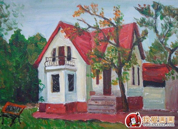 乡村建筑风景水粉画图片:农村房屋建筑(3)