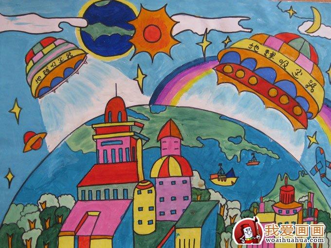 初中风景画简笔画-一二年级科幻画获奖作品
