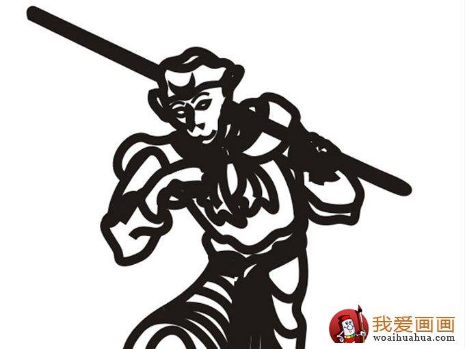孙悟空黑白线描简笔画 可爱简笔画孙猴子 5