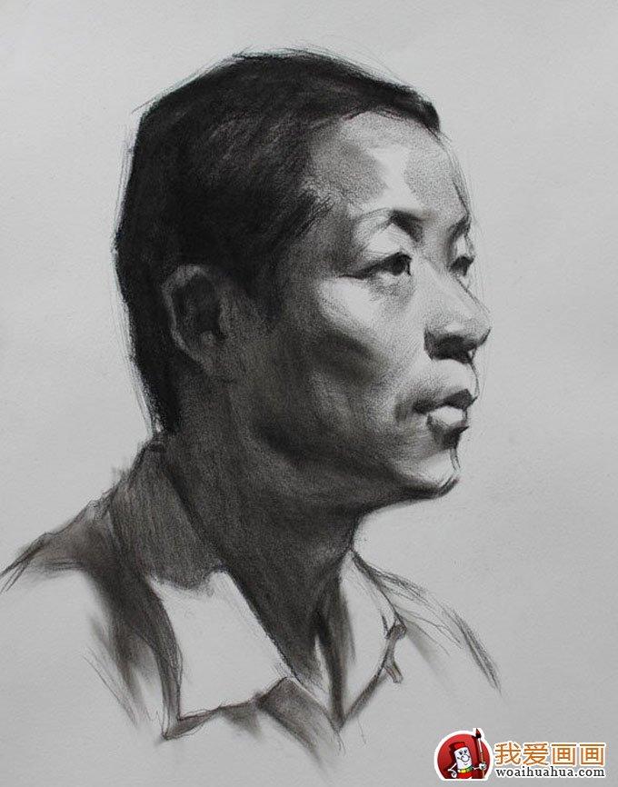 中年男子人物头像素描绘画教程图文详解(3)