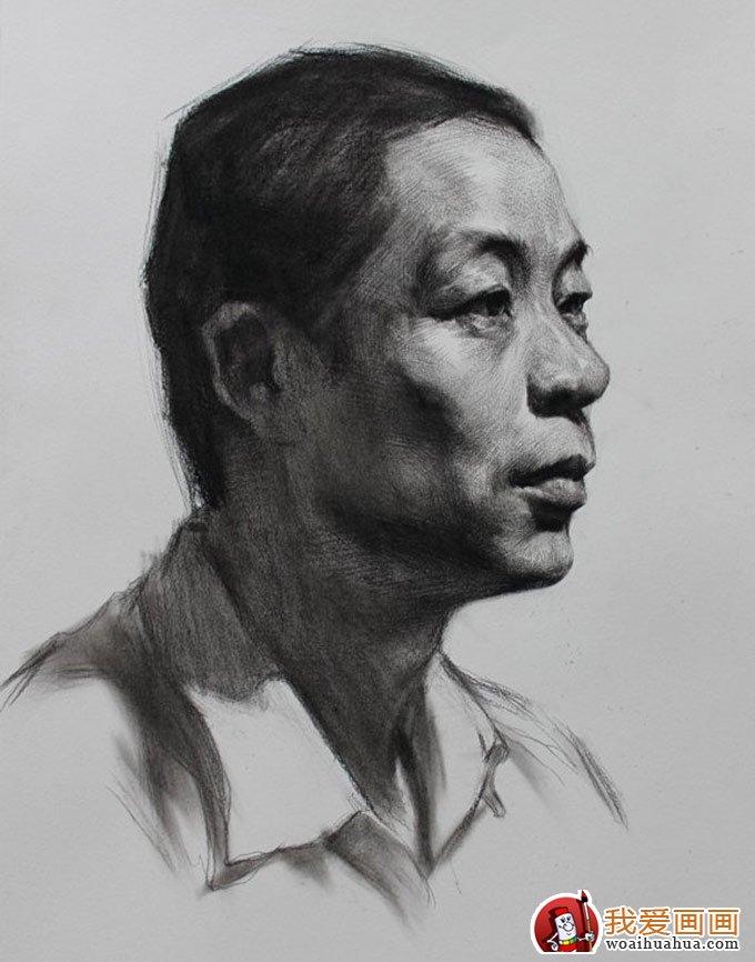 中年男子人物头像素描绘画教程图文详解(4)