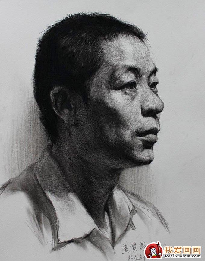 中年男子人物头像素描绘画教程图文详解(5)