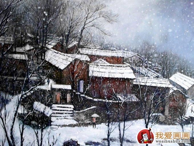 村庄风景水彩画图片系列:枯树草屋图(2)