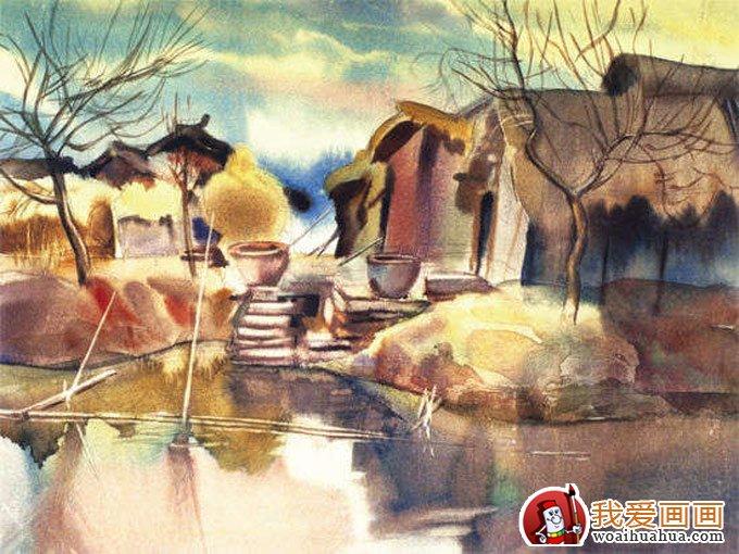 村庄风景水彩画图片系列:枯树草屋图(4)