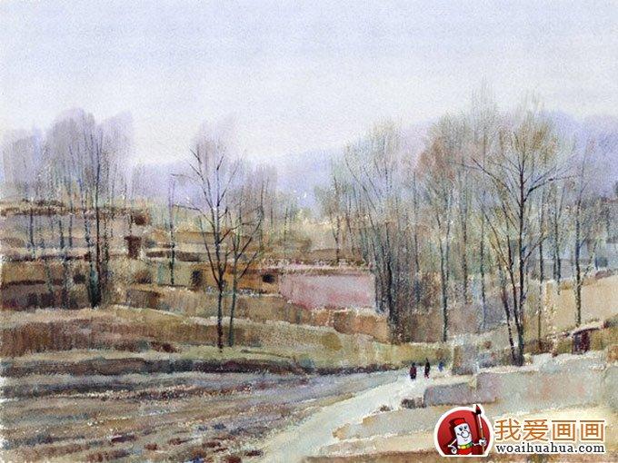 村庄风景水彩画图片系列:枯树草屋图(5)