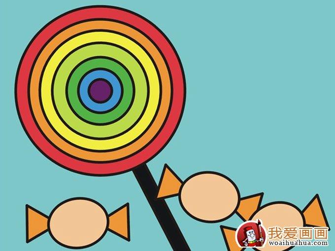 儿童画图片:彩色棒棒糖和糖果