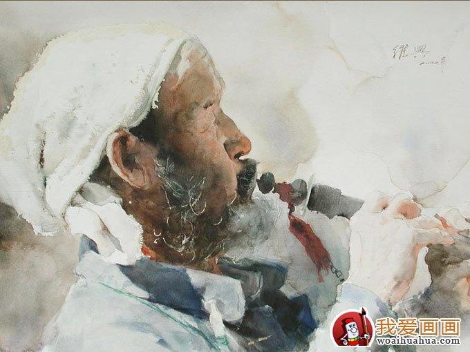 关维兴农村老汉系列水彩画人物头像欣赏(5)