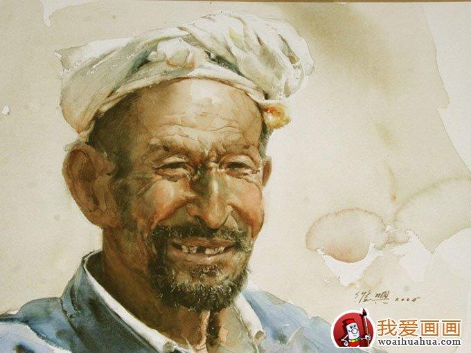 关维兴农村老汉系列水彩画人物头像欣赏(9)