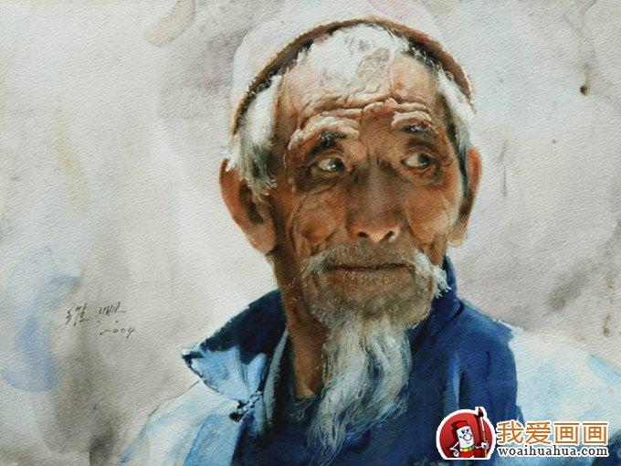 农夫色人和狗_关维兴人物水彩画欣赏:北方老人农夫头像水彩画系列