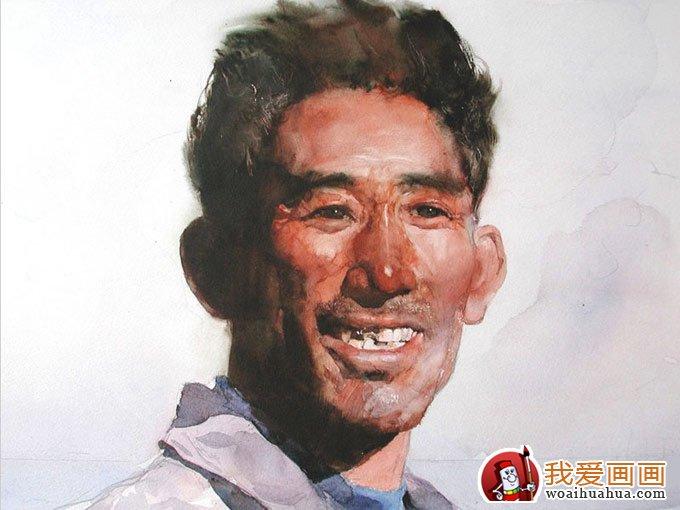 关维兴人物水彩画欣赏:北方老人农夫头像水彩画系列