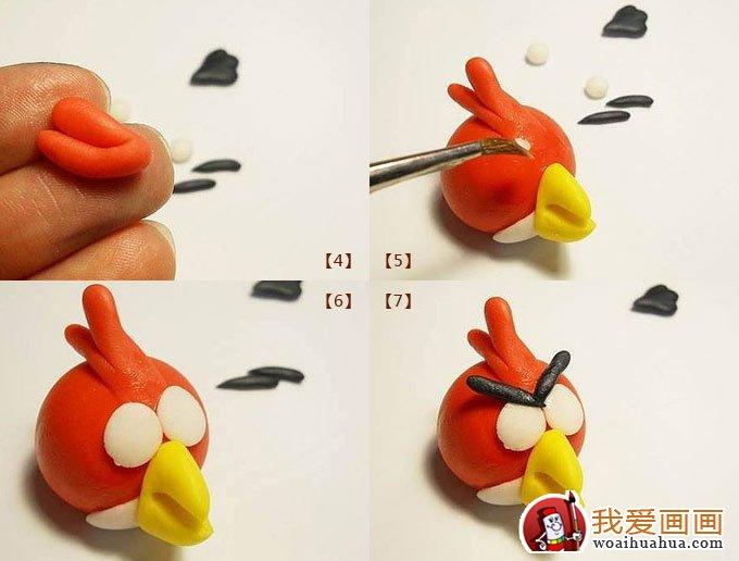 用橡皮泥和剪刀做出一只可爱的愤怒的小鸟中的小红鸟