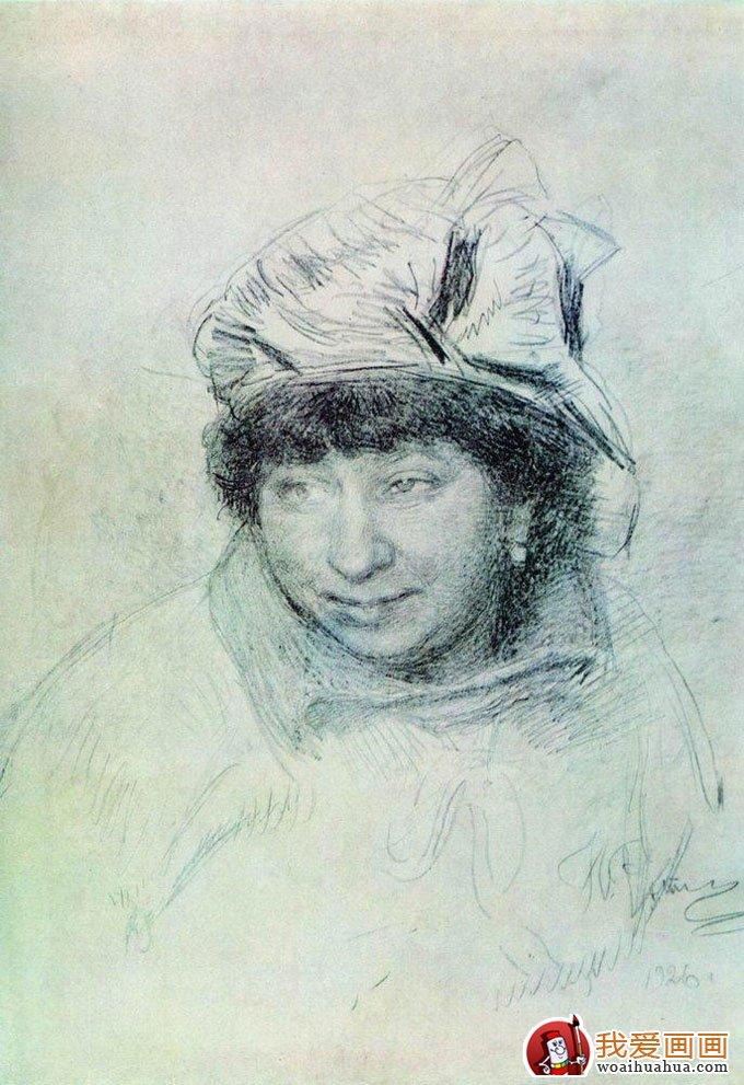 列宾素描作品,列宾人物速写作品高清图片欣赏(9)