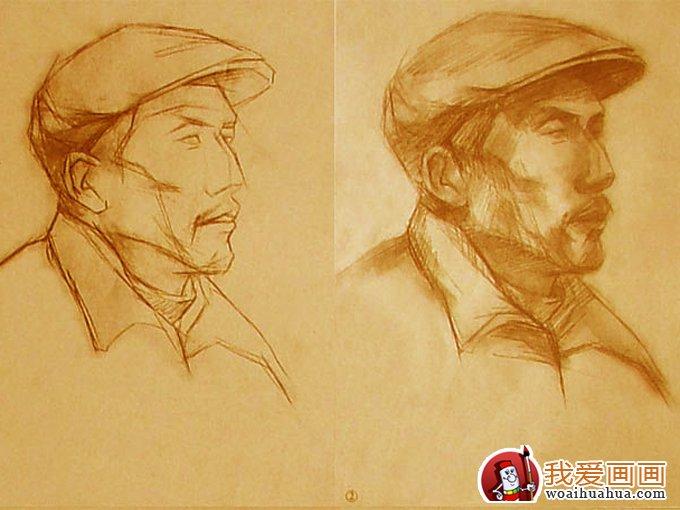 素描头像教程:戴帽子的老人头像素描写生步骤