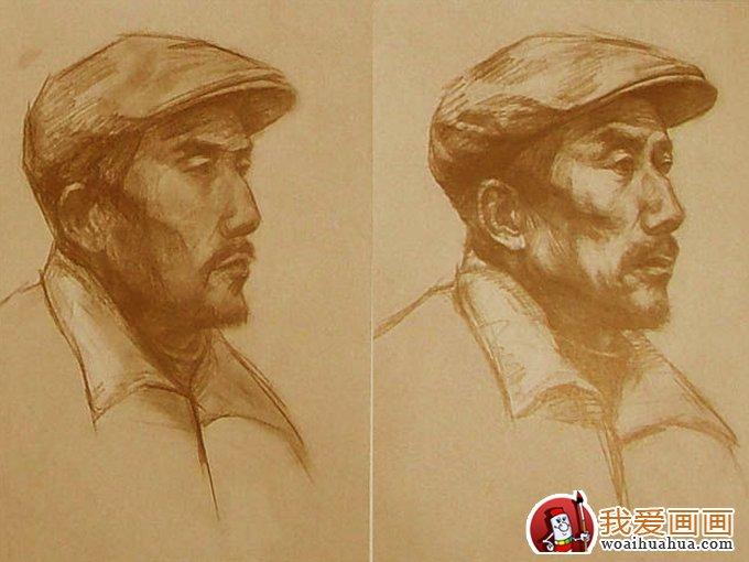 素描头像教程:戴帽子的老人头像素描写生步骤(2)