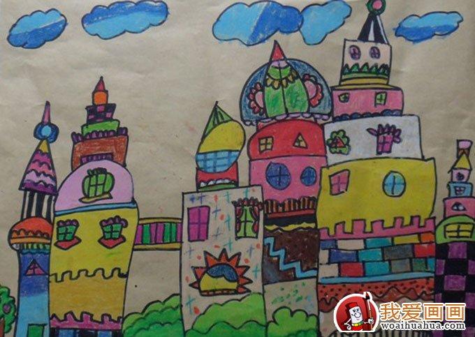 儿童彩色铅笔画城堡,关于城堡的儿童画欣赏(5)