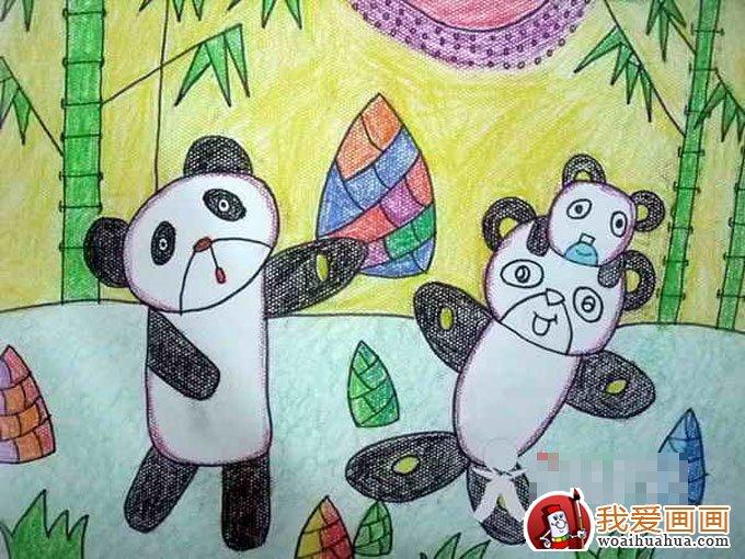 熊猫的儿童画大全,儿童画熊猫图片欣赏(7)