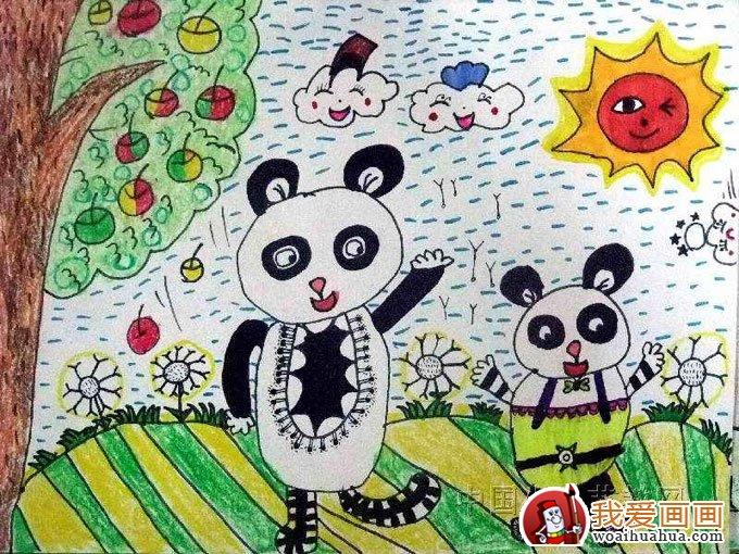 熊猫的儿童画大全,儿童画熊猫图片欣赏(11)
