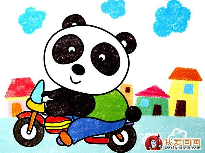 5副熊猫儿童卡通画欣赏,完美的儿童画熊猫图片(3)