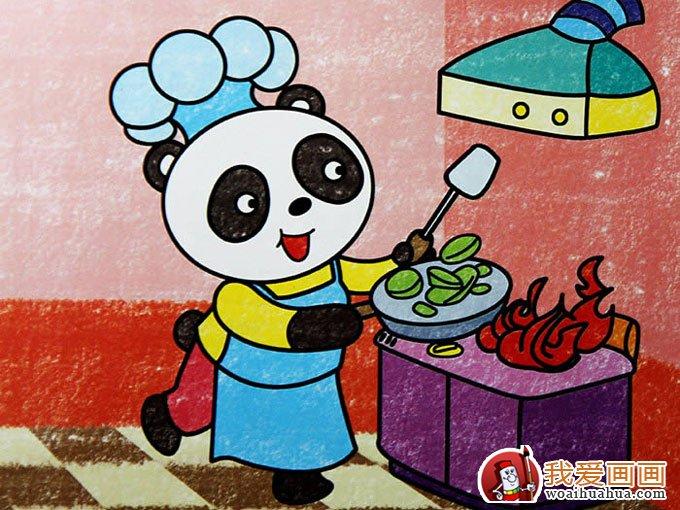 5副熊猫儿童卡通画欣赏,完美的儿童画熊猫图片(4)