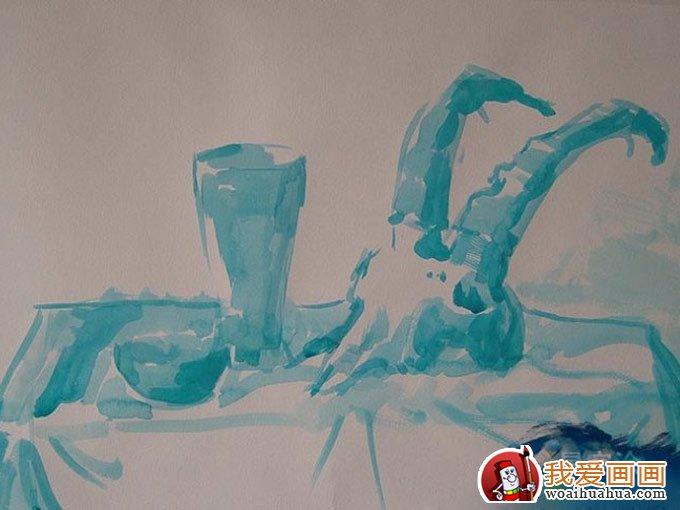 静物水粉画写生教程:羊头骨,瓷瓶,瓷碗水粉绘画步骤(3