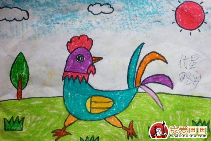 鸡儿童画 大公鸡简笔画油画棒填色作品12副 2