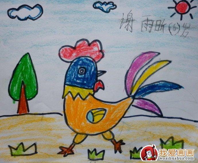 大公鸡儿童画:大公鸡简笔画油画棒填色作品12副(8)