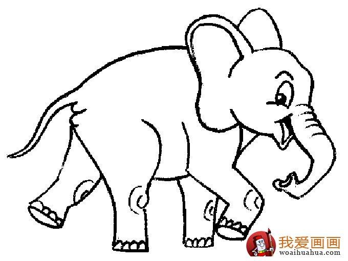 大象简笔画:儿童简笔画大象图片大全(5)