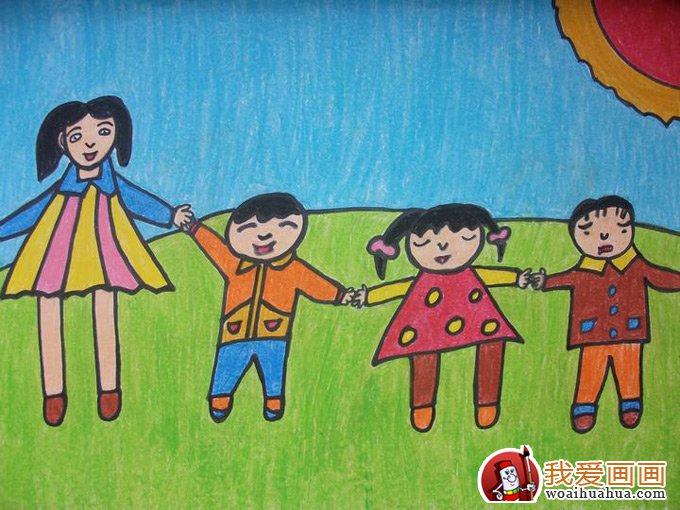 幼儿画画作品图片:我和姐姐妹妹在一起