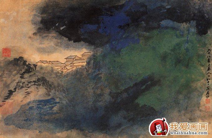 张大千泼墨泼彩色山水画高清大图欣赏(4)