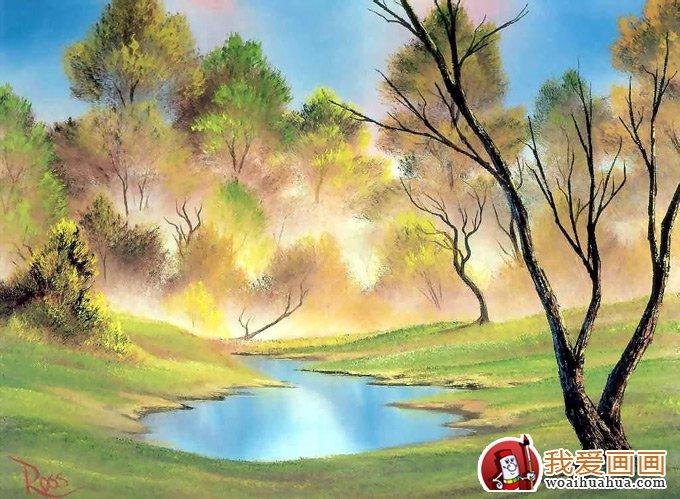 design 手绘水粉画风景,水粉画的手绘风景画4_水彩水粉  鱼的儿童水粉