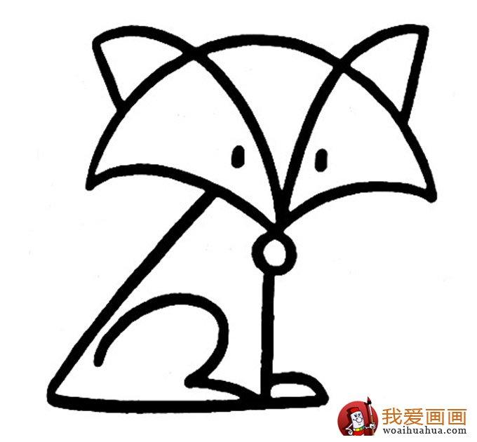 简笔画狐狸大全:可爱的小狐狸简笔画图片13张(5)