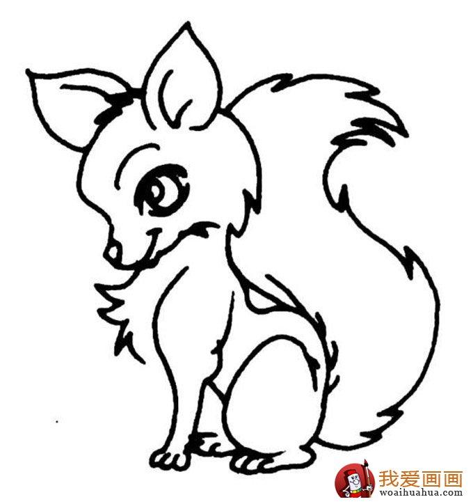 简笔画狐狸大全:可爱的小狐狸简笔画图片13张(8)