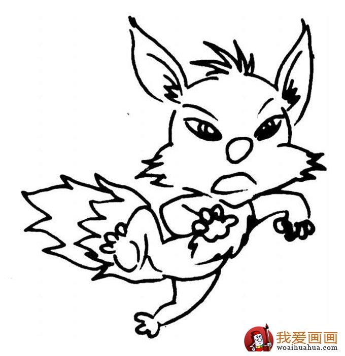 简笔画狐狸大全:可爱的小狐狸简笔画图片13张(9)