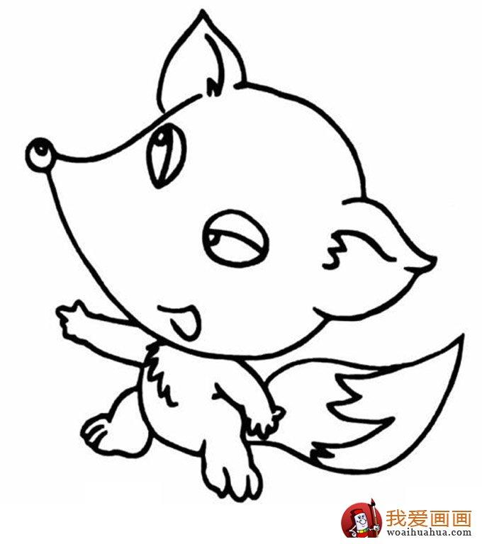 简笔画狐狸大全:可爱的小狐狸简笔画图片13张(11)