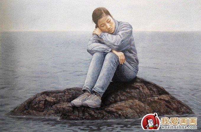 逼真的人物水彩画艺术:坐在礁石上沉思的女孩_水粉画
