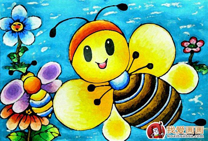 儿童画蜜蜂图片,小蜜蜂水彩画油画棒(1)
