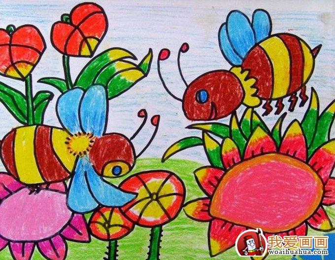 儿童画蜜蜂彩色图片大全:可爱勤劳的小蜜蜂(2)