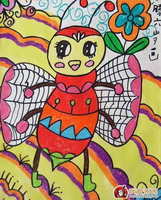 儿童画蜜蜂彩色图片大全:可爱勤劳的小蜜蜂(5)