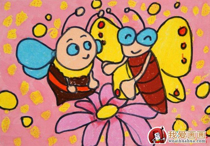 儿童画蜜蜂彩色图片大全:可爱勤劳的小蜜蜂(7)