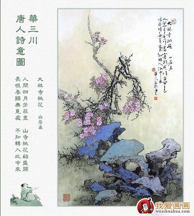 唐代古诗配画图片24:大林寺桃花,白居易图片