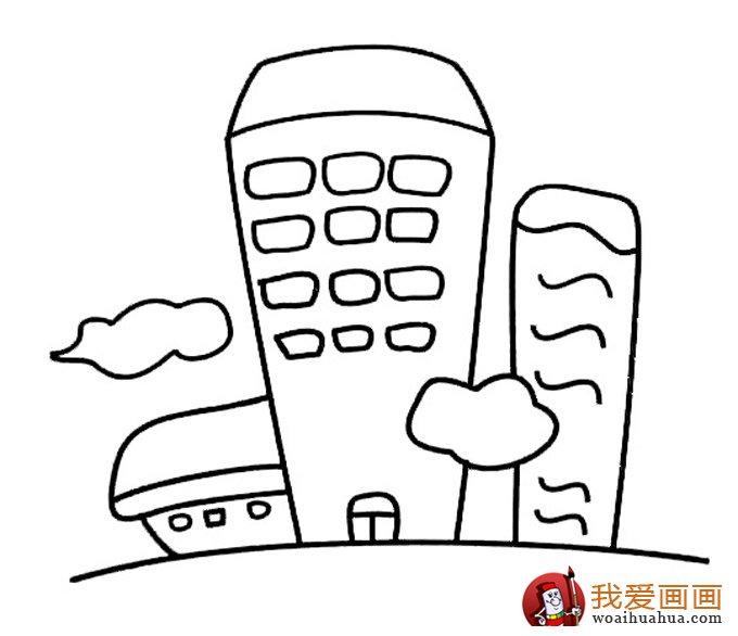 简笔画高楼大厦作品,高楼大厦简笔画建筑图片(2)