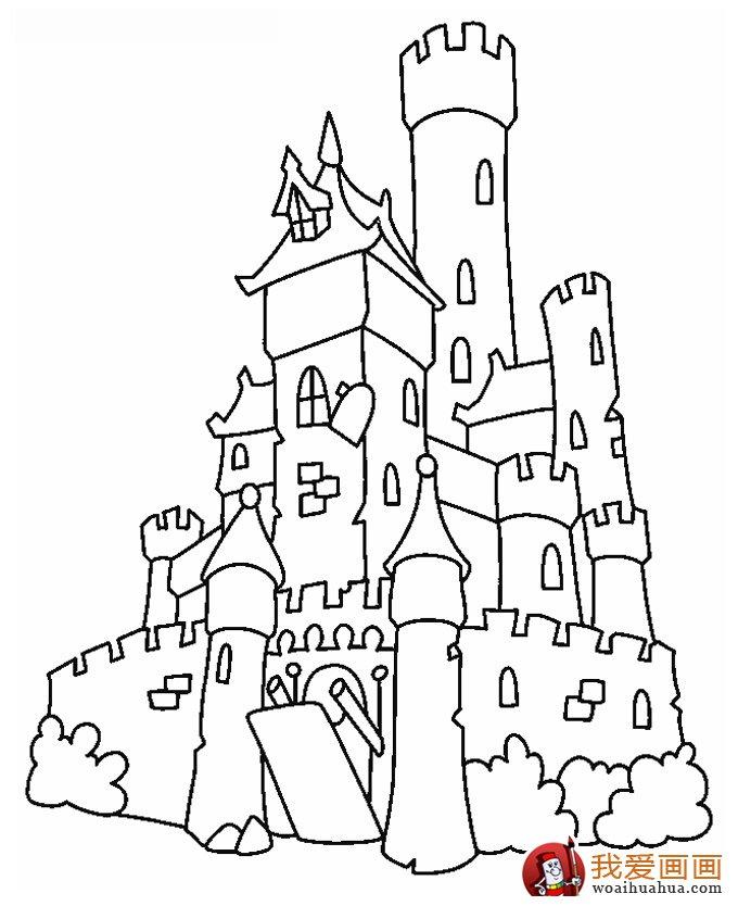 古堡建筑简笔画,简笔画城堡图片大全(2)