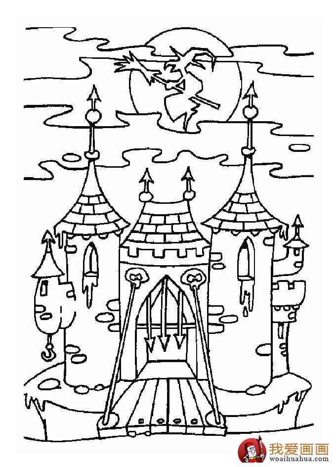 古堡建筑简笔画,简笔画城堡图片大全(7)