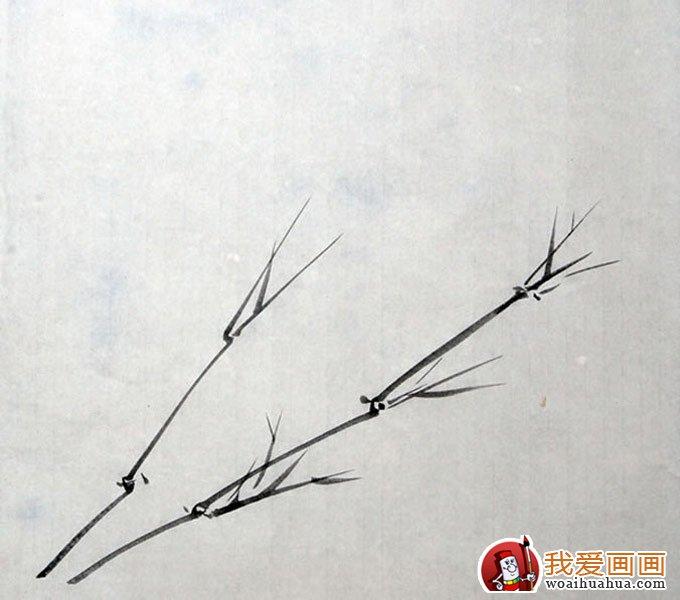 墨竹竹叶组合画法之新枝仰叶布局画法教程(2)