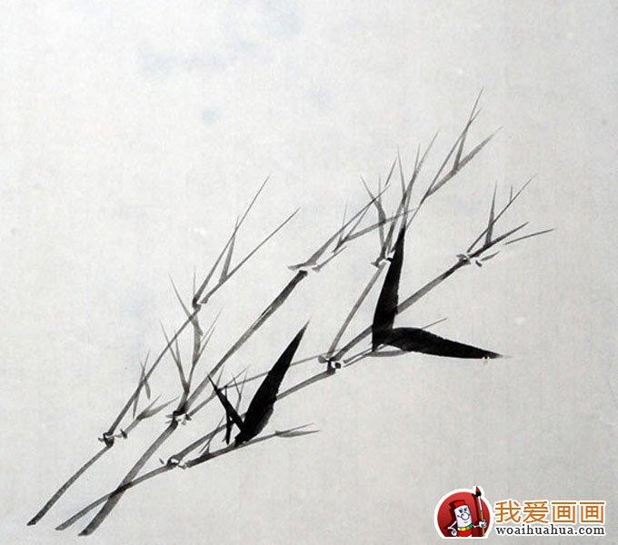 墨竹竹叶组合画法之新枝仰叶布局画法教程(5)