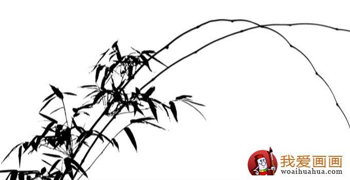 一、画竿 画竹选较硬一些的兰竹笔为宜。落墨前,要先立意,需胸有成竹。执笔要指实掌虚,起臂悬腕,落笔用顿,抬臂调锋,中锋行笔,如渔夫撑篙,求笔力刚健,自下而上,不可太快,亦不可太缓。收笔横挑,以示竹节。先短后长,节节相承,至竹梢慢慢变短变细,变弯取势。欲把竹画好,既要源于生活,又要按线的矛盾统一关系组织好条线。所谓线的矛盾统一关系,既线的长短、粗细、曲直,交搭开合,疏密虚实,秩序(方向)节奏等,都要有变化且和谐统一,画面才有美感。忌完全平行,垂直交叉,更忌多线交于一点;两线交叉不可孤立,须第三条线辅之 (