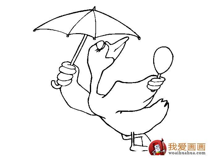 小鸭子简笔画图片:各种简笔画鸭子画法;;; 小鸭子简笔画之打着太阳伞